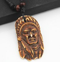avatar leather necklace - Ethnic Style Imitation yak bone Tribal leaders Avatar pendant wooden beads adjustable necklace