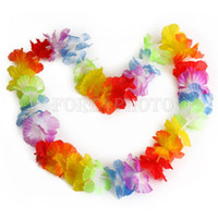 Wholesale 10 Hawaiian Beach Luau Party Flower Garland Lei Leis Necklace Colorful Deco