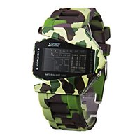 green army men - On Line Skmei Unisex Bomber Army Green Style Multi Functional Digital Silicone Band Wrist Men Led Watches Waterproof S60926