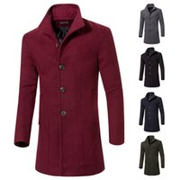mens trench coat - Fashion Single Breasted Jackets Mens Coats Overcoats Mens Casual Slim Long Trench Coat Mens Winter Warm Windbreaker