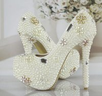 beaded round - New Luxurious Pearls Crystals Wedding Shoes White Ivory Custom Made Size cm High Heel Bridal Shoes Party Prom Women Pumps