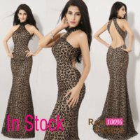 Model Pictures leopard print prom dress - In Stock Cheap Real Image Backless High Neck Prom Evening Dresses Leopard Print Sheath Celebrity Party Pageant Gowns Sexy Hot