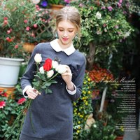 Cheap Moonstone European leg spring new lapel stitching gauze dress beaded diamond flocking Slim 3770