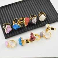 Cheap Druzy Rings - Mixed Color Drusy Ring Jewelry making 24 kt. Gold Plated Edge 10pcs lot