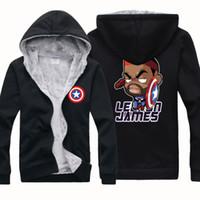 american basketball jackets - NEW CHEAP BASKETBALL JAMES AMERICAN CAPTAIN Winter Sports Coats Mens Hoodies Sweatshirts Cardigan Thickening Plus Velvet Jacket
