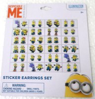job lots - 10 sheets New Arrive job pairs OF GIRL STICK ON EARRINGS Cartoon Despicable Me STICKERS