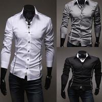 Wholesale New Men s Fashion Luxury Stylish Casual Designer Dress Shirt Muscle Fit Shirts hot sale