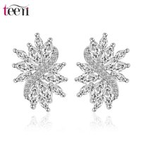 Wholesale Teemi Stud Earrings Hot Selling New Design Marquise Cut AAA Clear Cubic Zircon Bridal Women Brincos Wedding Jewelry Gift White Gold Plated