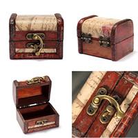 Wholesale 2015 Hot Vintage Jewelry Storage Box Stamp Flower Small Metal Lock Rings Pendant Treasure Chest Handmade Wood Box