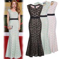 Runway Dresses Maxi Dresses Summer Women Runway Dresses Lace Sleeveless Trumpet Floor-Length Slim Fashion Party Dresses Plus Size Women Clothing Brand Star Style