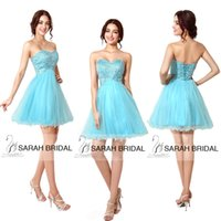 blue corset - Cheap Homecoming Short Prom Dress Gown Party Cocktail Dresses In Stock Actual Image Corset Sweet heart Beaded Sequins Blue Tulle SD034