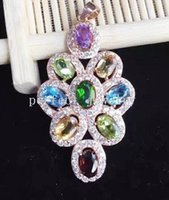 Wholesale Gemstone necklace pendant Natural gemstone sterling silver Perfect jewerly Include amethsyt topaz garnet citrine peridot DH