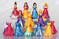 Cheap Original Disny Princess MagiClip Rapunzel Ariel Snow White Cinderella Belle Aurora Tiana 7PCS Small Doll Fashion Figure Toy Gift
