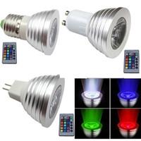 Wholesale LED indoor blub light replacement W RGB E27 GU10 MR16 LED Light Bulb Lamp Color IR Remote Control