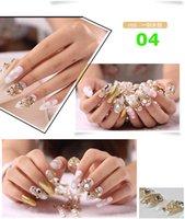 beauty tips bride - D RHINESTONE FAKE NAILS FULL COVER TIPS BLING BLING BRIDE FALSE NAIL WITH GLUE NAIL STIKCER SALON Art Nail Beauty decoration