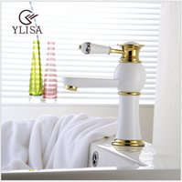 Cheap Luxury White faucet Hot And Cold Mixer Tap chrome Brass Basin Faucet Chrome Bathroom Sink Mixer