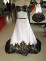 Wholesale 2015 Cheap Camo Wedding Dress Real Picture Sweetheart Embroidery with Beading Empire A Line Chapel Train Lace up Back Camo Evening Dress