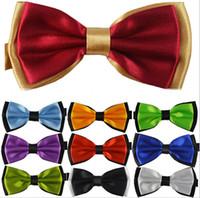 Wholesale 2015 new Fashion Solid color double layer New Novelty Men s Unique Tuxedo Bowtie Bow Tie Necktie