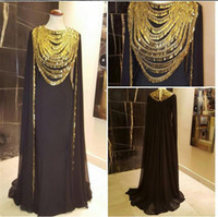 art studios - Stunning Gold Sequins Muslim Arabic Evening Celebrity Dresses Long Wrap Yousef Ashi studio Black Dubai Kaftan Abayas Vestidos Noche