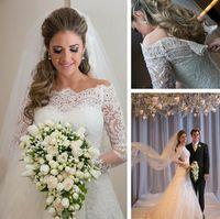 Wholesale Hot Sales Lace Vintage Wedding Dresses Custom Made Scalloped Neckline Beaded Sweep Train Elegant Long Sleeve Mermaid Wedding Gowns W018