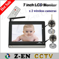 Wholesale 7 LCD Wireless Night Vision Video Camera Baby Monitor Security Cameras Receiver with camera