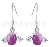 Wholesale Ruby drop earring Natural real ruby earrings sterling silver earring Perfect Jewelry DH