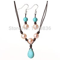 Wholesale Pearl Jewelry Sets Pearl Turquoise Sets Jewelry Fashion Jewelry Sets For Women Pearl Bridal Necklace Earrings Sets Jewelry