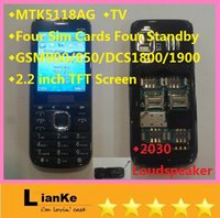 Wholesale MTK5118AG low end Four Sim Cards Four Standby phones Analog TV candybar phone quad band Loudspeaker inch mobile phone