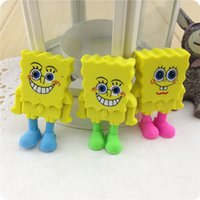 Wholesale Creative Cartoon Spongebob Erasers Students Rubbers Stationery Supplies Novelty Design Correction Supplies Pencil Erasers for Kids