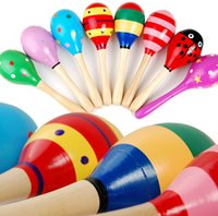 Wholesale Colorful Small Wooden Maracas Musical Instrument Rattles Shaker Party Toy