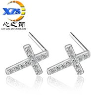drop shipping manufacturers - 1 Pair S925 Silver Zircon Cross Stud girl female Earrings hypoallergenic fashion manufacturers drop ship