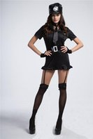 girdles garters - Black Interest Sexy Policewomen Uniform Sexy Turtle Neck and Girdling Dress Wrap and Slim Dress with Garters Attached to Bow Tie and Hat Bel