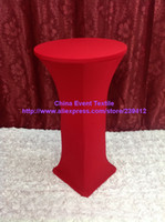 Wholesale 20pcs Extra Larger Red Lycra Dry Bar Cover High Cocktail Table Lycra Cover for Weddings Events Banquet Party Decoration