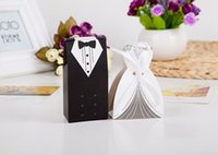Wholesale 2015 Hot Candy Box Bride Groom Wedding Bridal Favor Gift Boxes Gown Tuxedo pair New