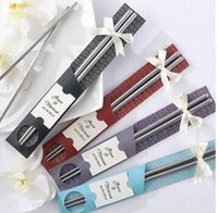 Wholesale 100pairs Hot sale new Stainless travel Steel Chopsticks in Artistic Sleeve wedding party favor gift