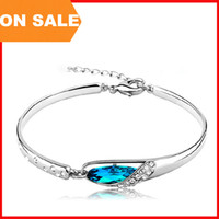 alloy slippers - Fashion Crystal bracelet women blue glass slipper charm bangle cuff hand dress luxury jewelry Christmas gift