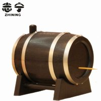 Wholesale Wood toothpick holder barrel shape toothpick box automatic toothpick dispenser table decoration accessories Y