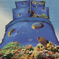Cheap Ocean Fishes printed bedding set queen size bedclothes quilt duvet comforter cover sheet pillow case blue bed Linen bedspread 3d