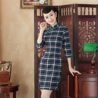 Wholesale women cotton qipao sexy casual dress grid chinese traditional dress summer party dress chinese traditional cheongsam vestido de festa longo