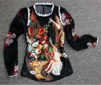 angels oil painting - High Quality Spring Summer Designer Clothing Women s Angel Oil Painting Print Long Sleeve Silk Top