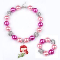 beads for bracelets and necklaces - Fashion Jewelry Set Chunky Beads Necklace and Bracelet with Cartoon Character Pendants For Kids Jewelry Decoration