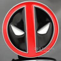Wholesale Men Comic Superhero Black Red Deadpool Mask Silver Belt Buckle Cosplay Jewelry