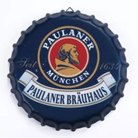 beer bottle cap art - Deal cm Round PAULANER Beer Bottle Cap vintage Tin Sign Bar pub home Wall Decor Metal art Poster