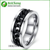 BC joyería del anillo de la cadena de moda para los hombres Spinner Oro Negro Acero inoxidable Cadena de Plata al por mayor de la joyería para hombre BC-0069