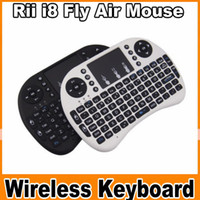 Wholesale DHL Free Rii Mini i8 Fly Air Mouse WIFI Wireless AirMouse Keyboard Touchpad Remote Control Flymouse For Andriod TV BOX MINI PC MXQ OM CC3