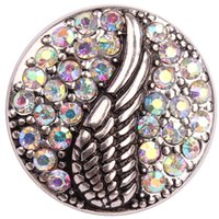 antique rhinestone buttons - Angle Wing Ginger Snap DIY Button With Crystal AB Rhinestone Antique Silver
