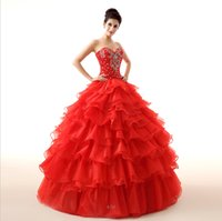 Sweetheart masquerade ball gowns - 2015 Vintage Cheap Red Quinceanera Dresses Sweetheart Beading Corset and Tulle Debutante Gowns For Sweet Girls Masquerade Ball Gowns LH