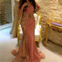 sleeve photo - Amazing Evening Dresses V Neck Mermaid Shinning Sequined with Pink Chiffon Arabic Dresses Gorgeous Party Prom Gowns Sweep Train HY