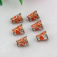 antique jewelery - Hot Zinc alloy antique silver Orange Enamel Style Bead Caps Spacer Jewelery Craft Making Findings mm mm DIY Jewelry