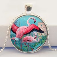 pink flamingos - Pink Flamingo Glass Picture Pendant Flamingo Bird Jewelry Art Pendant Flamingo Necklace